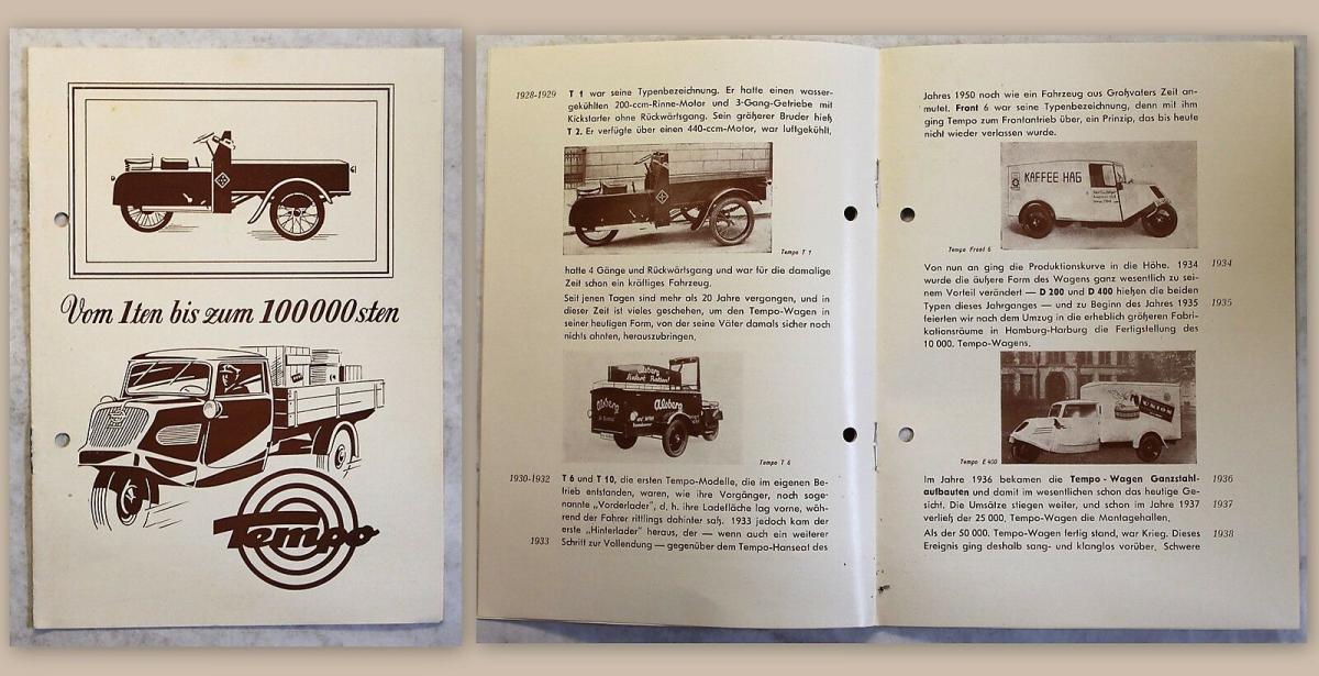 Alter Werbeprospekt Vidal & Sohn Tempo-Eilwagen Lastkraftwagen 1950 illustriert 0