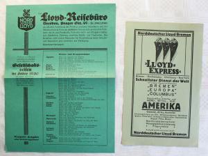 Prospekt Werbeblatt Reisen Norddeutscher Lloyd Lllod-Reisebüro Dresden 1930 xz
