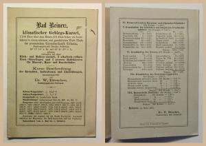 Original Prospekt Bad Reinerz Kurort Glatz Schlesien um 1880 Duszniki-Zdrój xz