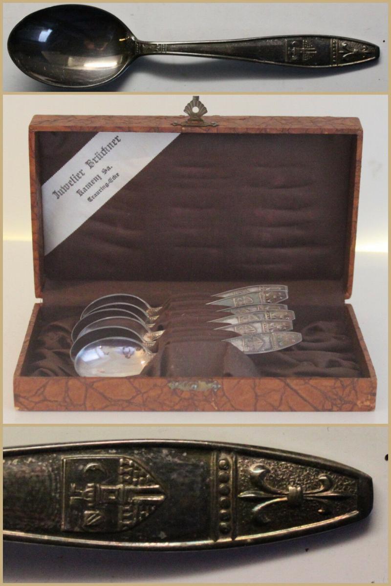 Besteck 6x Mokkalöffel um 1910 versilbert ungepunzt mit Stadtwappen Glauchau xy 0