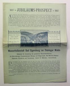 Orig. Prospekt Wasserheilanstalt Bad Elgersburg Thüringer Wald 1887 Türingen xz