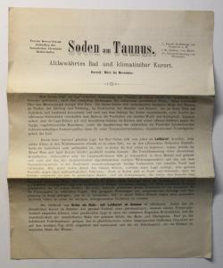 Original Prospekt Werbeblatt Soden am Taunus Bad Kurort Hessen Nassau um 1880 xz