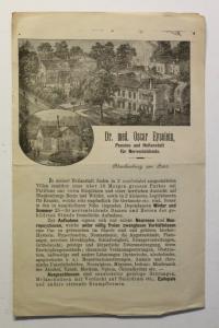 Prospekt Eyselein Pension & Heilanstalt Blankenburg Harz Sachsen-Anhalt um 1880