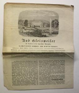 Original Prospekt Bad Gleisweiler Landau bayer. Rheinpfalz 1881 Rheinland-Pfalz
