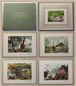 Henry Lemarié Les Fermes bois graves 5 Farbholzstiche Miniaturen in Mappe xz