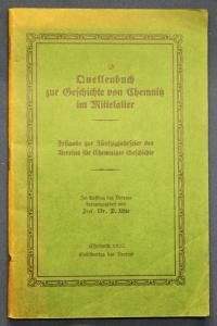 Uhle Quellenbuch zur Geschichte von Chemnitz im Mittelalter 1922 Sachsen sf