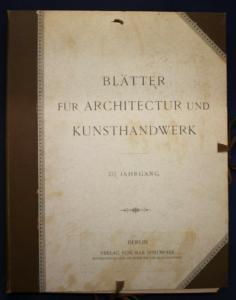 Blätter für Architektur und Kunsthandwerk 16. Jahrgang 1903 Kunst Kultur sf