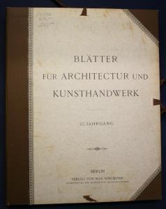 Blätter für Architektur und Kunsthandwerk 15. Jahrgang 1902 Kunst Kultur sf