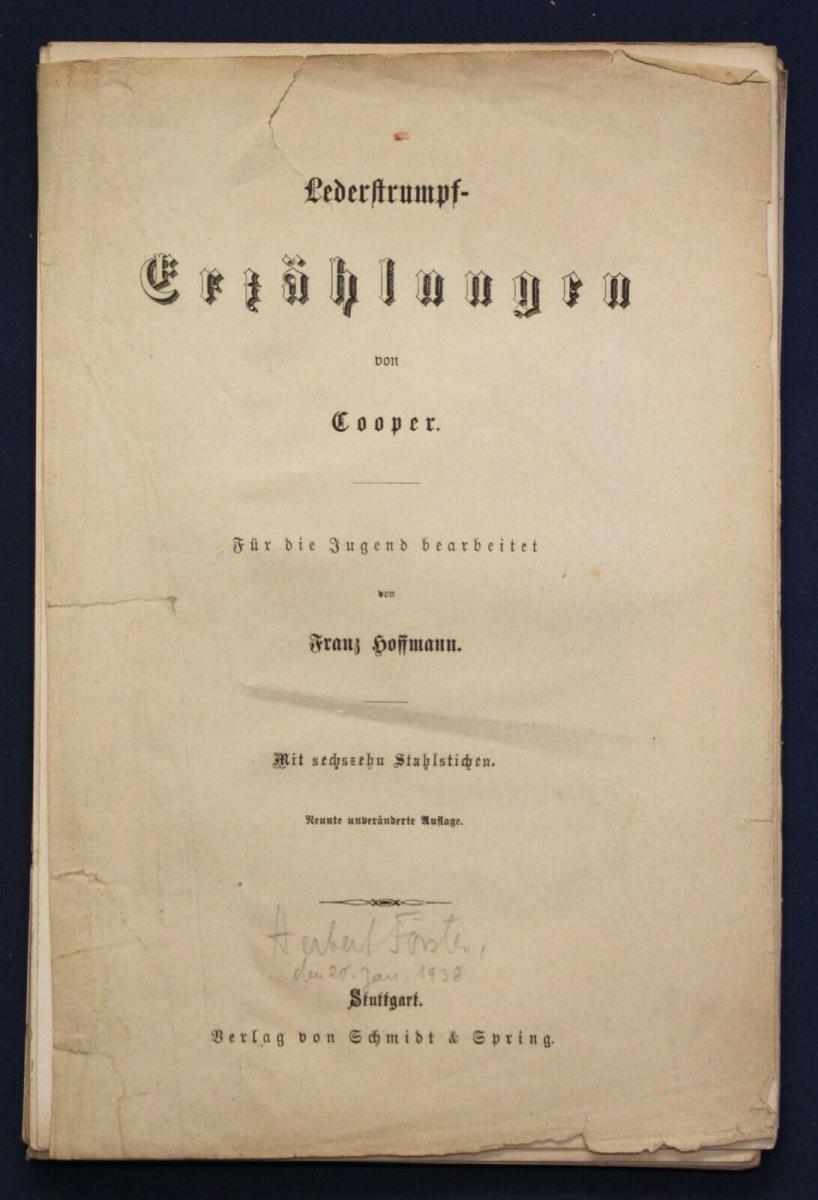 Hoffmann 16 Stahlstiche zu Lederstrumpf - Erzählungen von Cooper 1938 sf 0