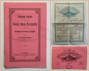 Kosmann Chemische Annalyse der Sanct Anna-Kurquelle Altreichenau Schlesien 1888