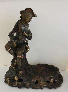 Uffrecht & Co. U&C Historismus Figur mit Schale Wandersmann 37 x 33 cm xz