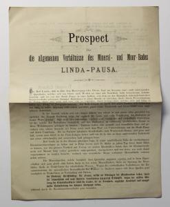 Original Prospekt Mineral- und Moorbad Linda Pausa um 1885 Sachsen Vogtland xz