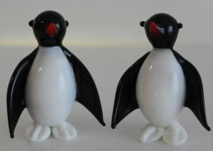 Pinguine 2 Stk - Lauscha Glasfiguren Mundgeblasen Glas Thüringen Figuren sf