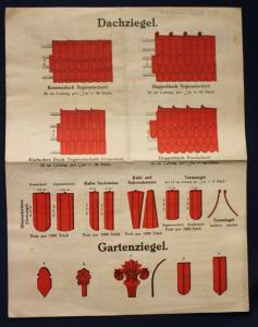 Orig. Prospekt Greussniger Dachziegel um 1900 Handwerk Technik Geschichte Bau sf