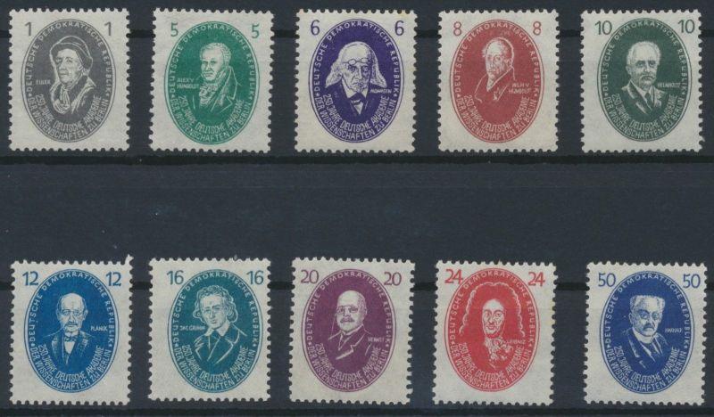 1950 - DDR - Mi Nr. 261-270 - 250 Jahre Akademie der Wissenschaften - Satz **