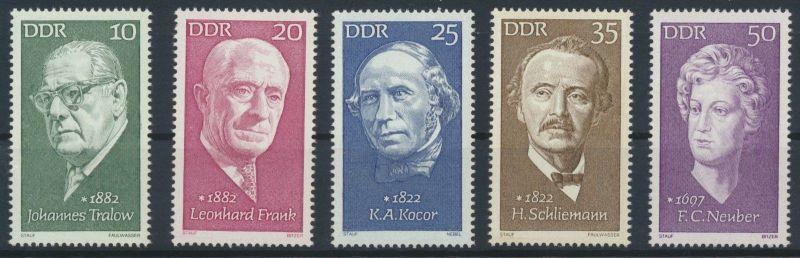 1972 - DDR - MI 1731-1735 - Berühmte Persönlichkeiten (VII) - Postfrisch** / MNH