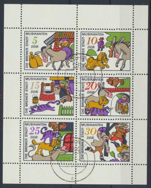DDR Märchen-Kleinbogen Mi-Nr 1717/1722 gestempelt mit FDC Datum 23.11.1971