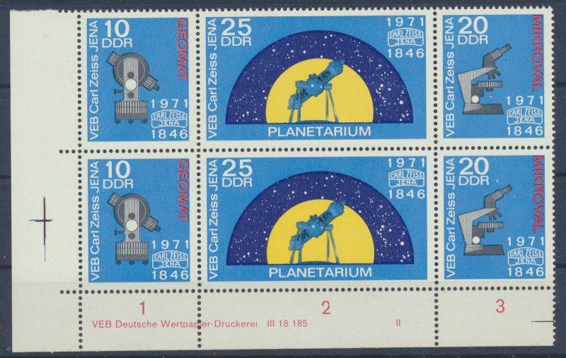 DDR 1714  -  16   2 x  postfrische Sätze, Dreierstreifen, Eckrand mit Nummern