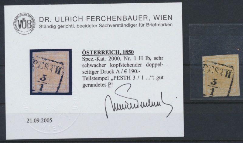 1850 - Österreich - Nr. 1 H Ib - Teilstempel PESTH 3 / 1 - Attest Ferchenbauer