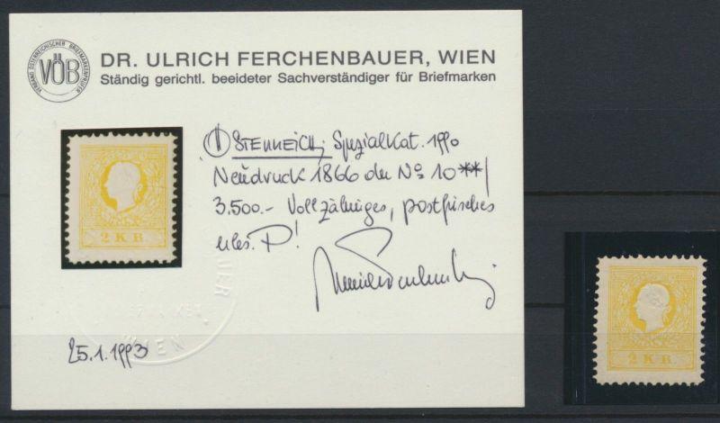 1866 - Österreich Ausgabe 1858 (Kaiserkopf nach links) - Neudruck 1866 Attest **