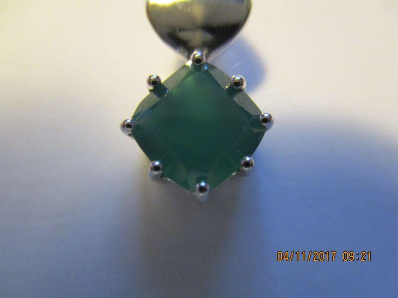 Silberanhänger 925er,Grüner Chalzedon.1,44 ct aus brasilien