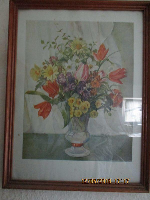 Bild von Heinrich,signiert, 42 cm hoch,32 cm breit, Blumenstraus in einer Vase