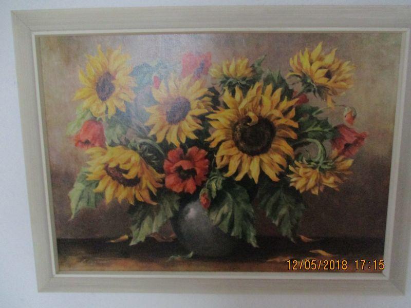 Bild mit sonnenblumen in einer vase,sigiert maler müller liste 695/1 79,5 cm breit, 59 cm hoch