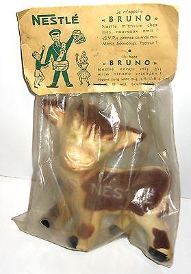NESTLE Kuh  Bruno Werbefigur Maskottchen 50er Gummifigur RARITÄT ca.14cm (K20)