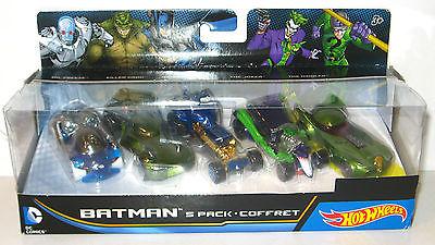 BATMAN 5er Set Autos : Riddler Joker Batman Killer Croc Mr. Freeze HOT WHEELS *L