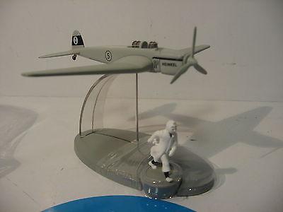 TIM & STRUPPI Flugzeugmodell Heinkel Kämpfer Borduri Figur Tintin Moulinsart (L)