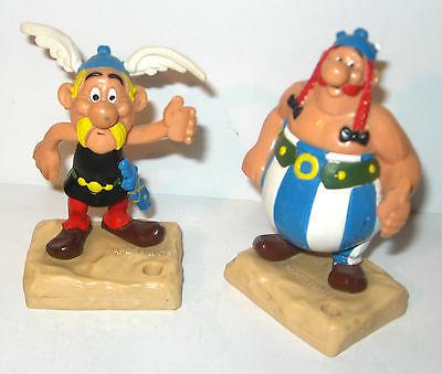 ASTERIX & OBELIX 2 Gummifiguren Figuren auf Sockel HEIMOG 1982 - #10 (K37) 0