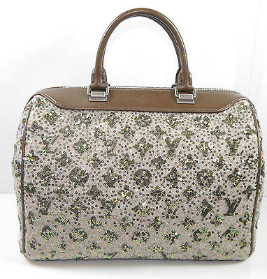 LOUIS VUITTON M40799 Monogram Sunshine Express Speedy Pailetten khaki Handtasche