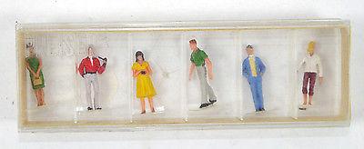 PREISER 22 Passanten 6 Mini Figuren Set Modellbausatz H0 1:87 #04 (K29)