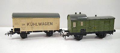 PIKO Kühlwagen & Gepäckwagen DR 50/60er Jahre Blech Bakelit ca.11cm (K25)