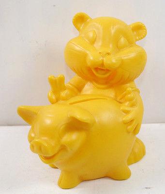 COMMERZBANK Goldi Hamster mit Sparschwein Werbefigur Spardose Prototyp #E (K1)