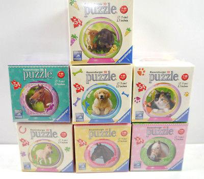 RAVENSBURGER 3D PUZZLE Set mit 7 Puzzle ~ Pferd Hund Katze / 54 Teile NEU (K26)