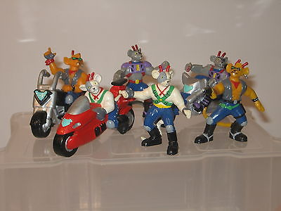 Biker Mice Bully 1994  6 Figuren / kompletter Satz ca. 7 cm Gummifiguren (K14) 0
