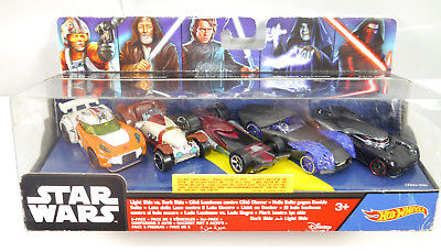 STAR WARS Light & Dark Side Spielzeugauto 5er Set HOT WHEELS Neu (LR13)
