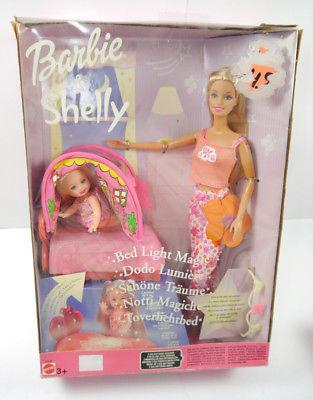 BARBIE & SHELLY Schöne Träume / Bed Light Magic Set Puppe MATTEL Neu (F8)