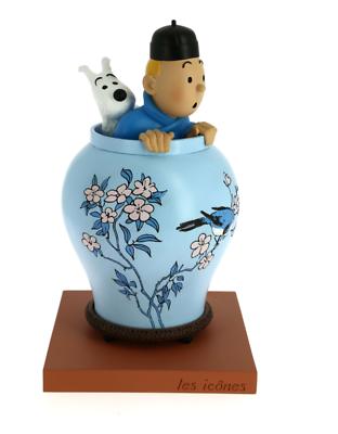 TIM & STRUPPI Tim in Vase blaue Lotus Figur MOULINSART ca.20cm Neu (L)
