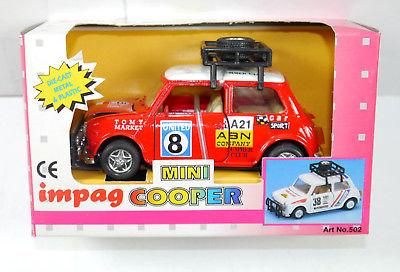 IMPAG Mini Cooper rally Auto rot red Modellauto mit Rückziehfunktion Neu (K7)