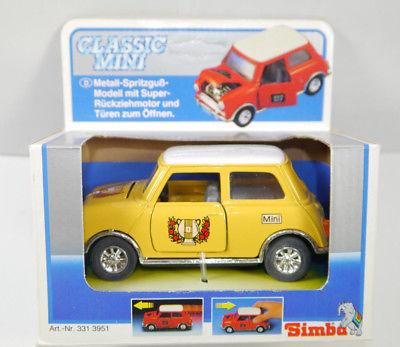 CLASSIC MINI Cooper gelb yellow Auto Modellauto mit Rückziehfunktion SIMBA (K7)