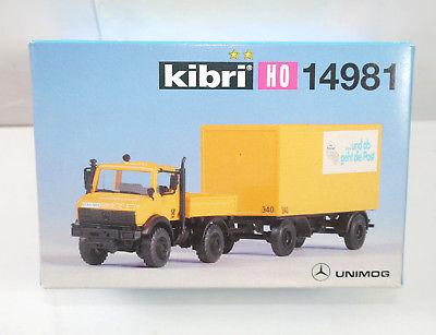 KIBRI 14981 Unimog mit Postanhänger LKW Auto Plastik Modellbausatz H0 (K67)