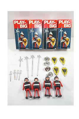 PLAY BIG 4x Ritter Figur mit Zubehör 5645 , 5641 / 70er mit OVP (K34)