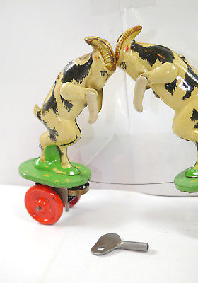 VEB MS BRANDENBURG 647 Ziegenböcke mechanisch Blechspielzeug DDR 50er m. OVP F7* 2