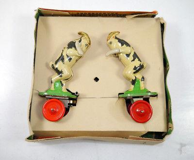 VEB MS BRANDENBURG 647 Ziegenböcke mechanisch Blechspielzeug DDR 50er m. OVP F7* 5