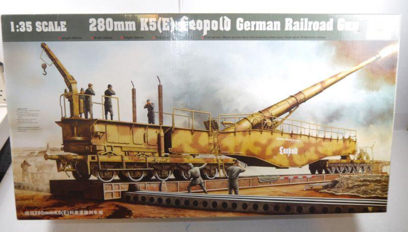 TRUMPETER 00207 Leopold German Railroad Gun 280mm K5 (E) Modellbausatz 1:35 (F5)