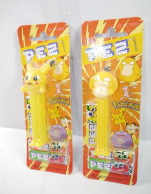 PEZ 2er Set POKEMON Pikachu Enton + 6 Bonbons Packungen 2001 NINTENDO Neu (K64)