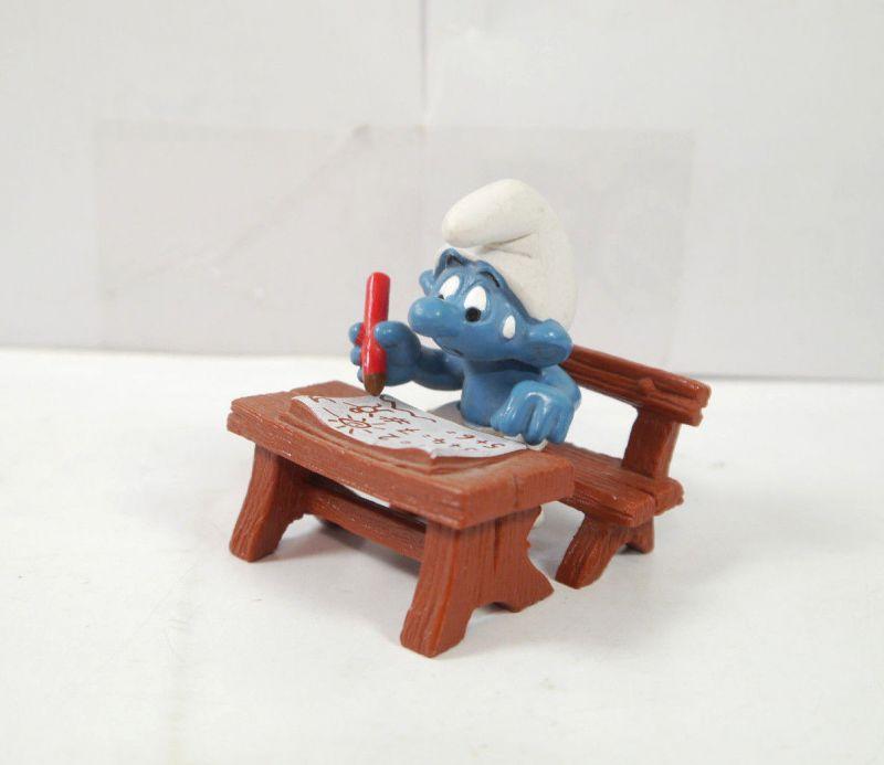 SCHLÜMPFE Smurfs - Schlumpf mit Stift Schulbank Schule school SCHLEICH (K79) #09