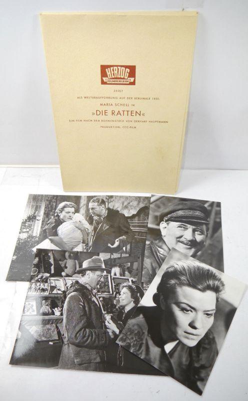 Pressemappe DIE RATTEN Filmfestspiele Berlinale 1955 signiert Schell Jürgens *B2
